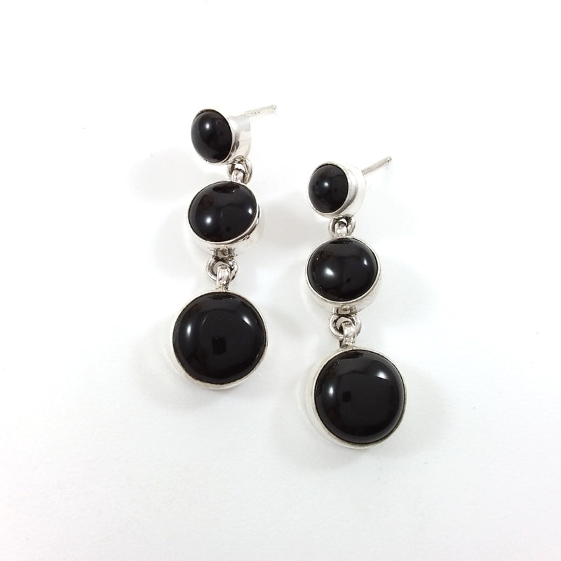 Navajo Peggy Skeets onyx sterling silver earrings.