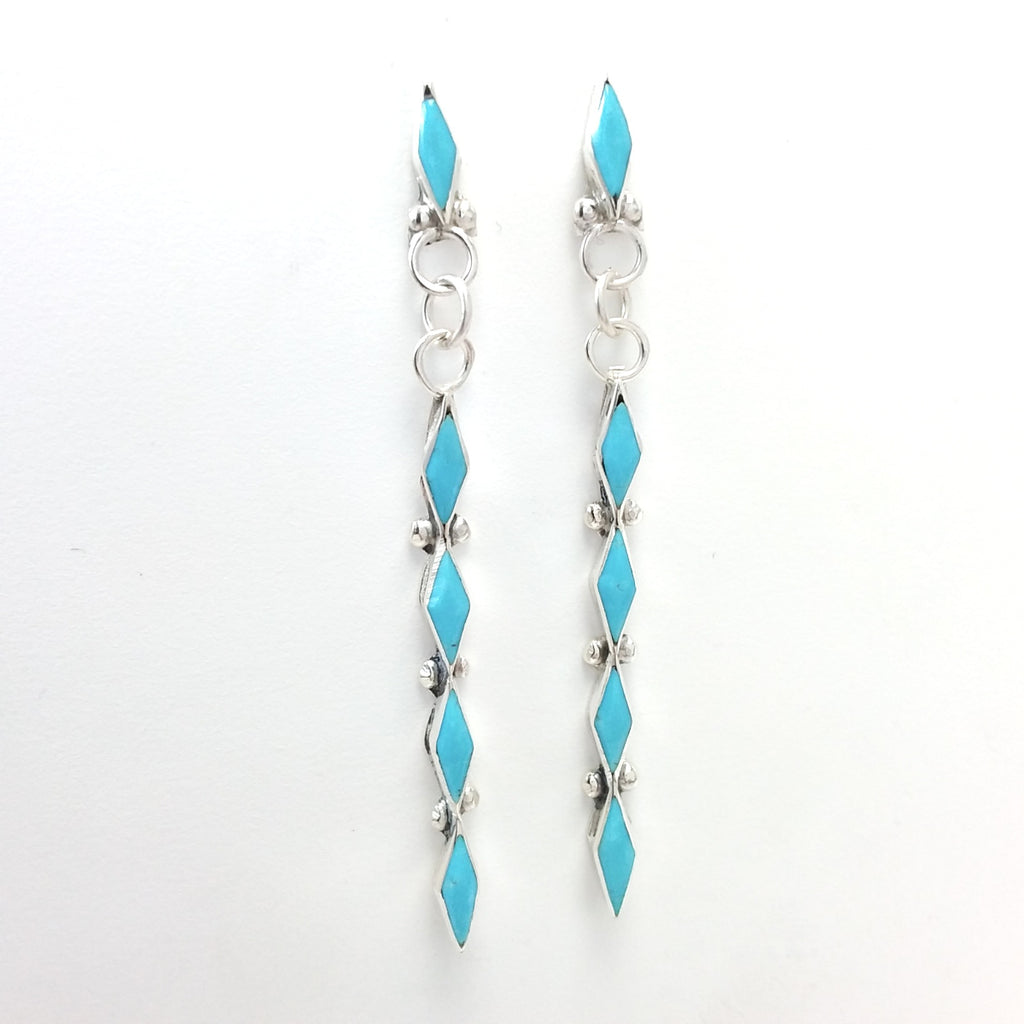 Zuni Claudia Wallace turquoise sterling silver inlay earrings.