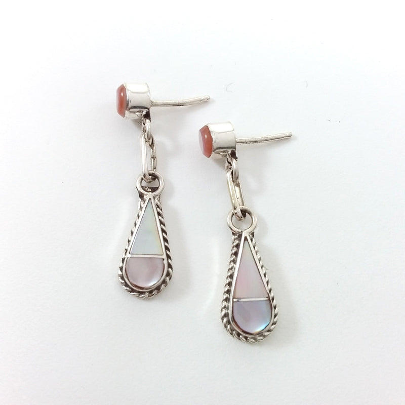 Zuni Velda Nastacio mother of pearl sterling silver inlay earrings.