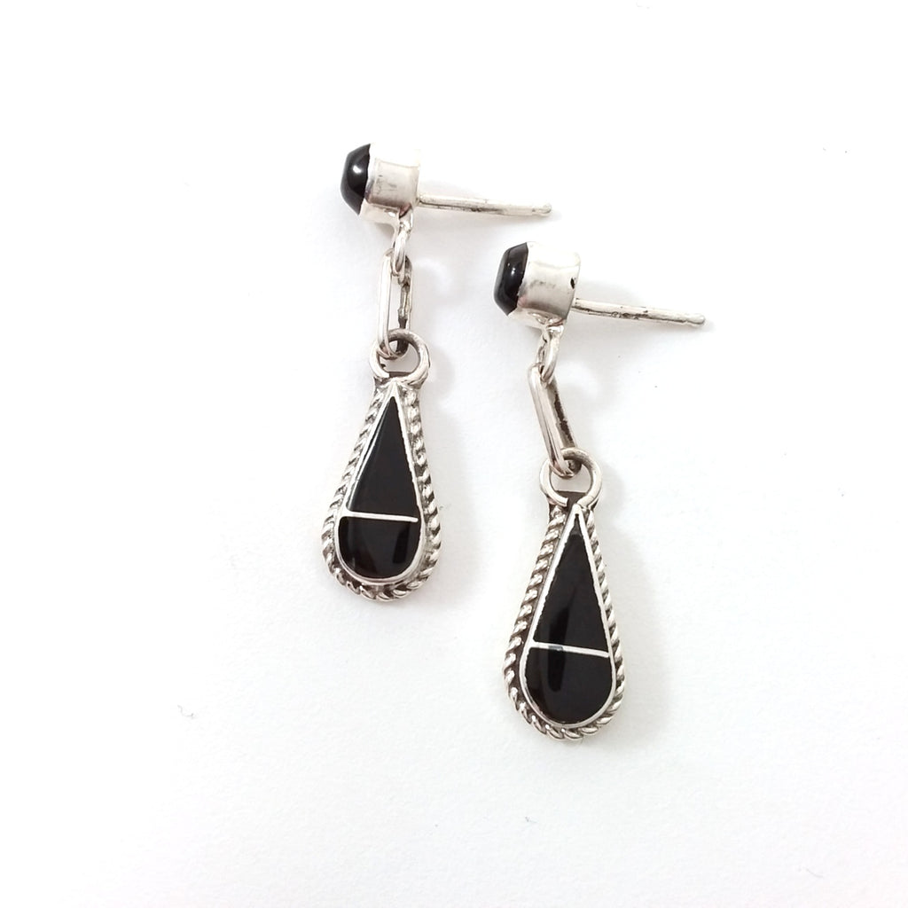 Zuni Velda Nasticio jet sterling silver inlay earrings.