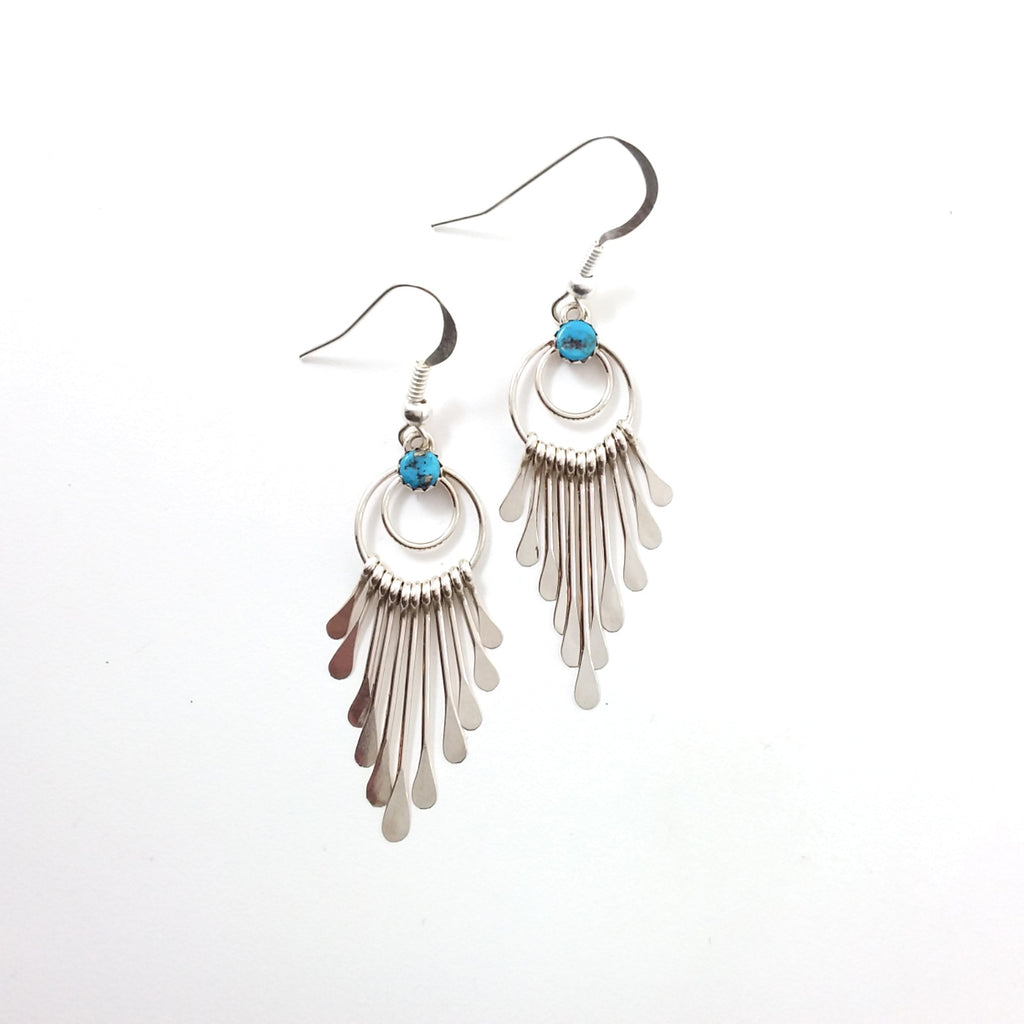 Navajo Pauline Armstrong turquoise sterling silver earrings.