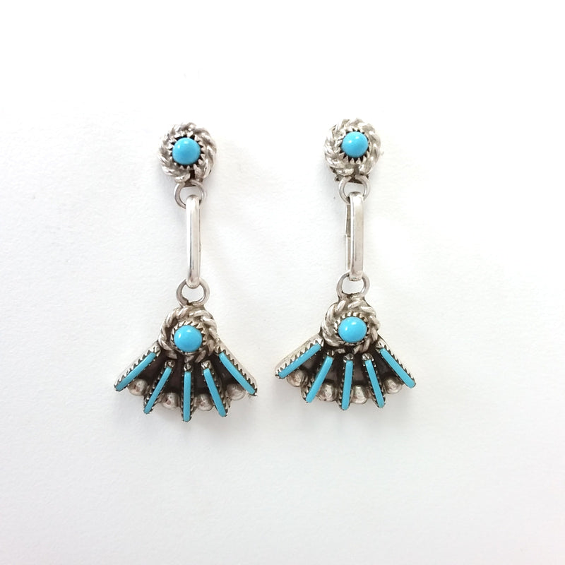 Zuni turquoise sterling silver needle point earrings.