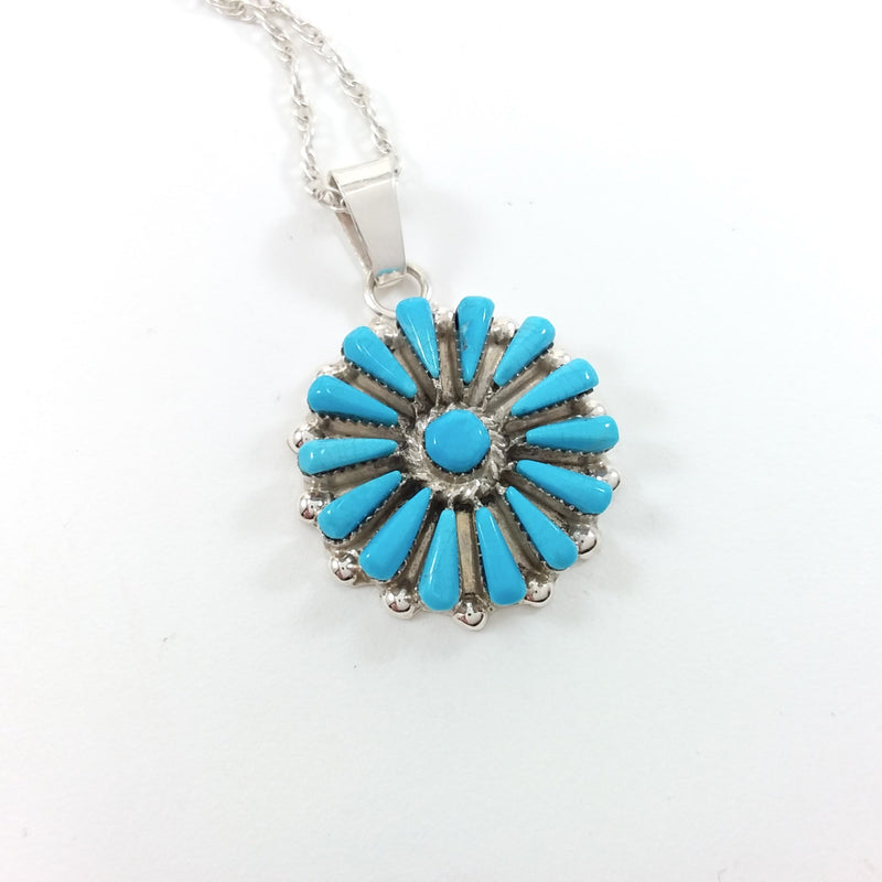 Vera Halusena Zuni turquoise sterling silver needle point pendant.