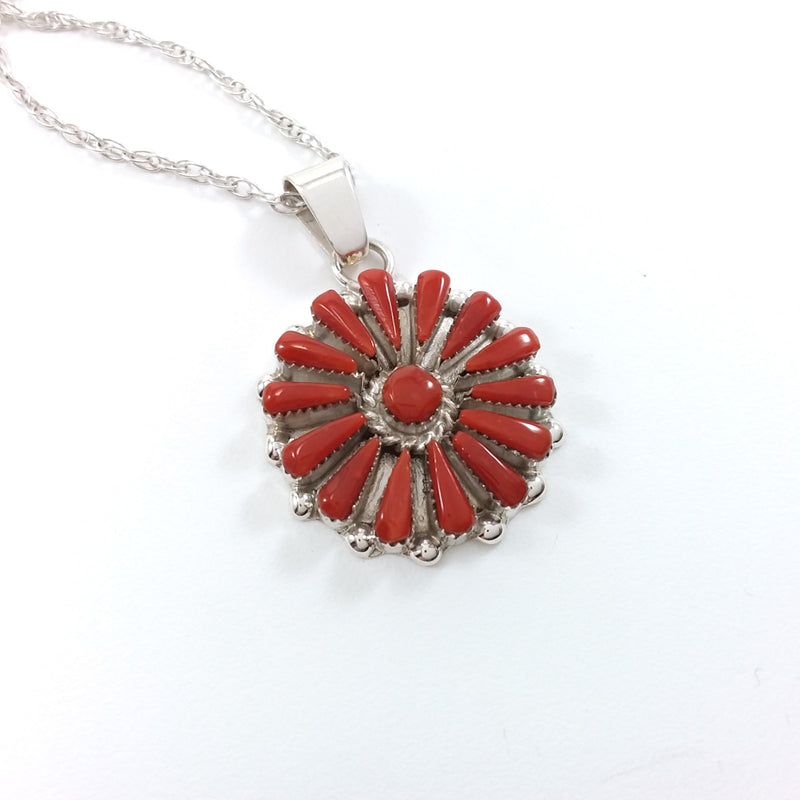 Vera Halusena coral sterling silver needle point pendant.