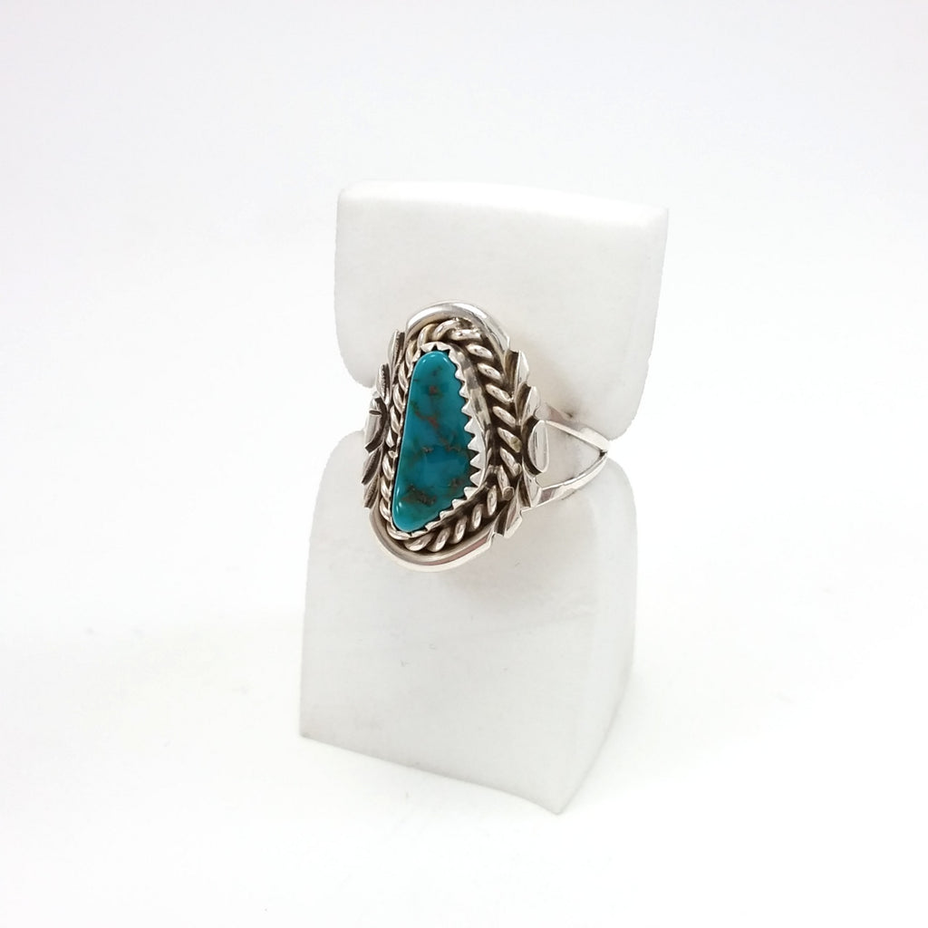 Navajo Turquoise Ring Small turquoise ring under 50, Native American Indian Jewelry 8.5, Sterling Silver