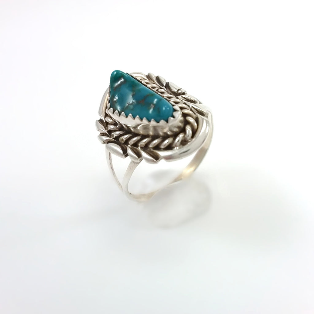 Navajo Turquoise Ring Small turquoise ring under 50, Native American Indian Jewelry 8.5, Sterling Silve