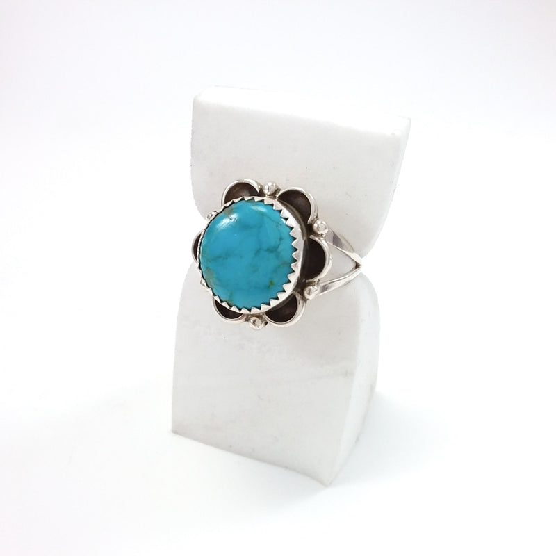Flower Turquoise Sterling Silver Ring, Navajo Jewelry, Native American Indian Jewelry, Small Turquoise Ring