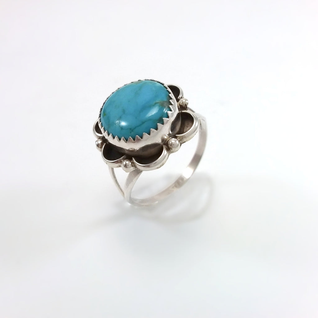 Flower Turquoise Ring by Freda Martinez