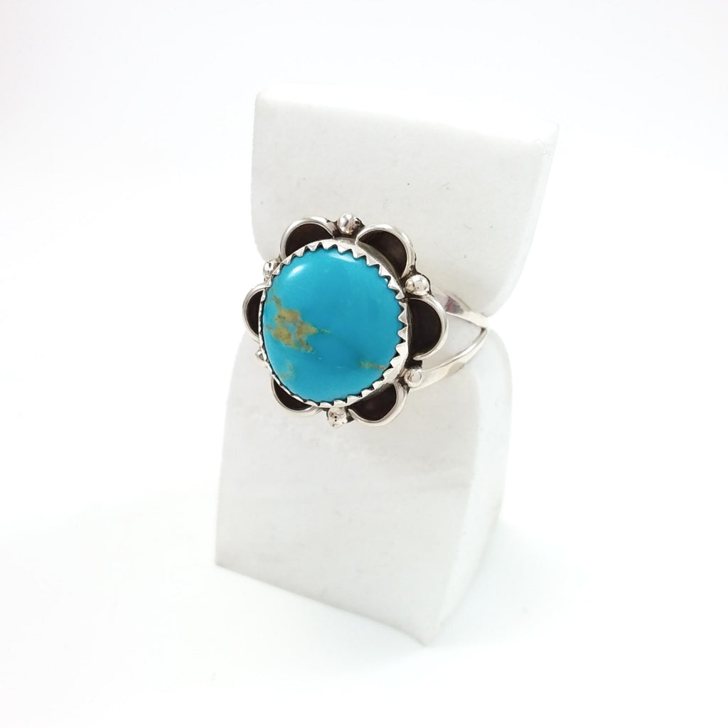 Turquoise Navajo Ring Soutwhest Native American Indian Jewlery Boho Chic size 8