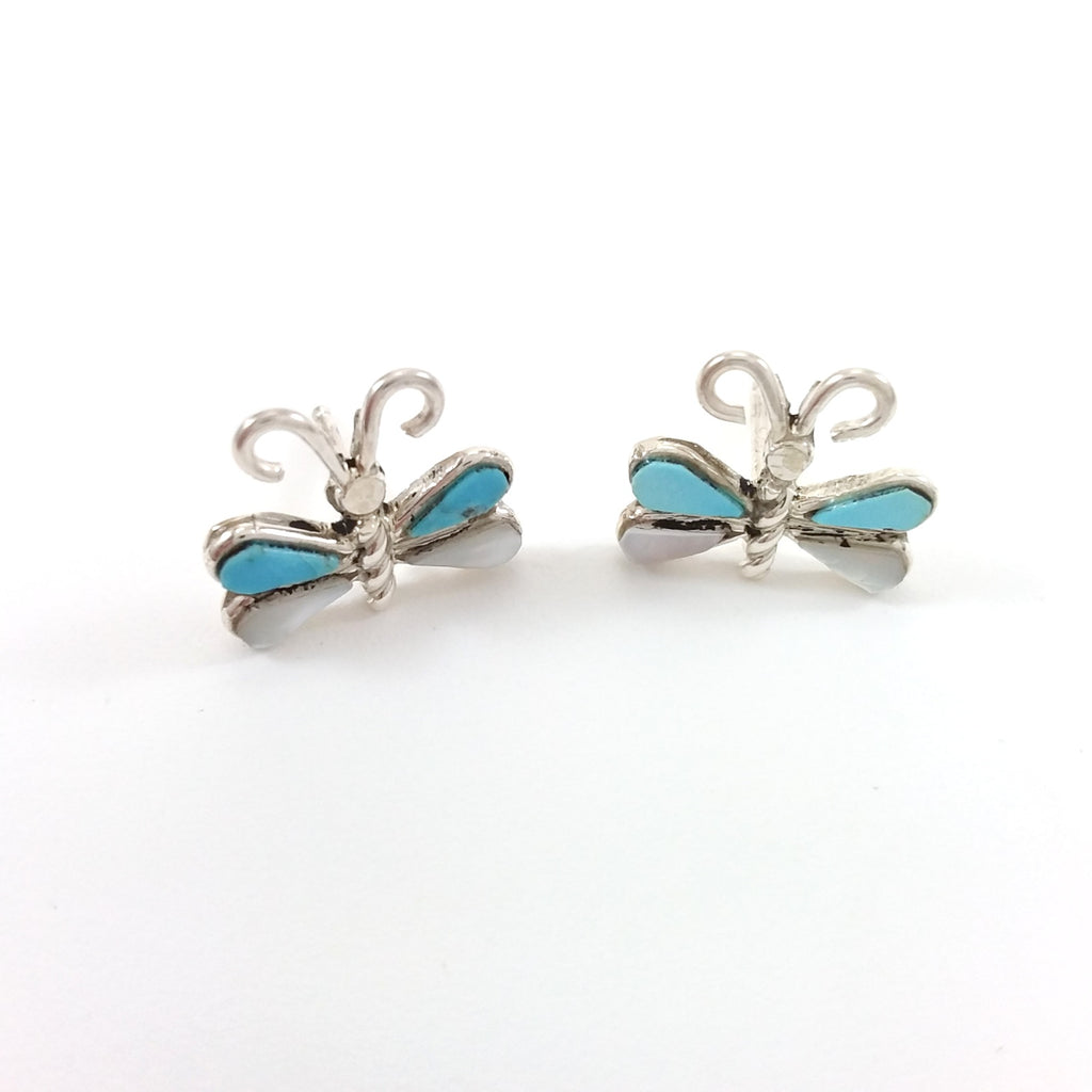 Zuni turquoise mother of pearl sterling silver butterfly earrings.