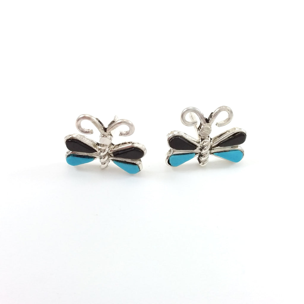 Zuni turquoise and jet sterling silver inlay earrings.