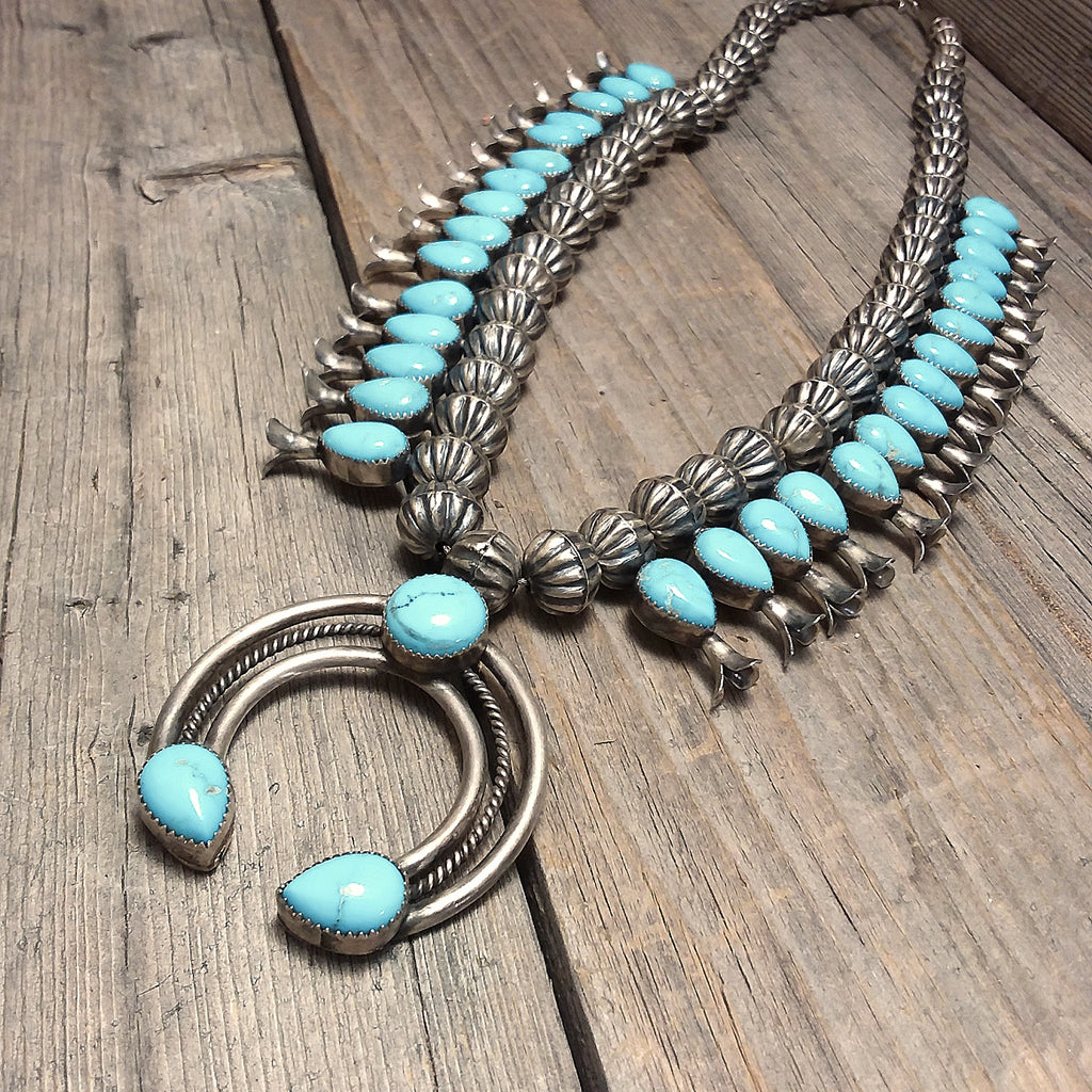 Leon Kurley turquoise sterling silver squah blossom.