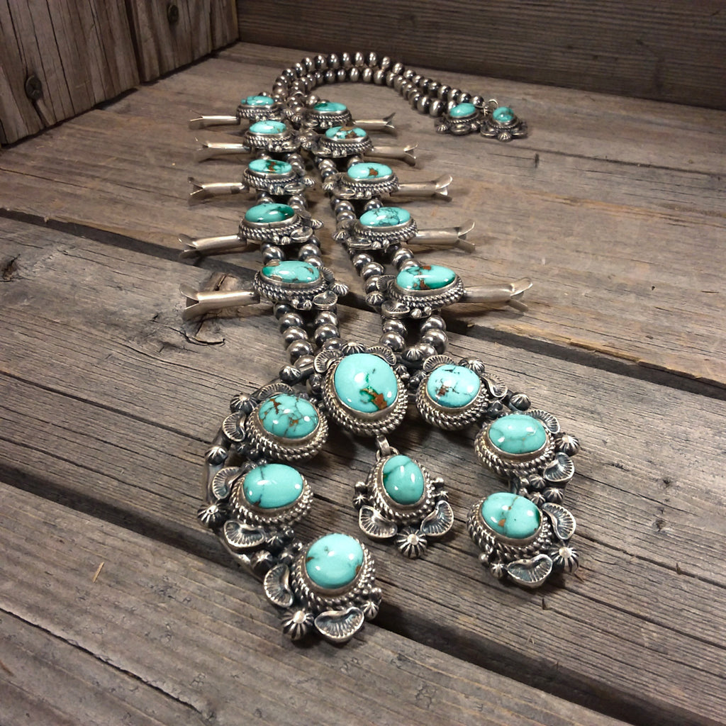 Thomas Francisco turquoise sterling silver squash blossom necklace and earring set, Navajo, Native American Handcrafted, Jewelry Set, Native American Jewelry Set