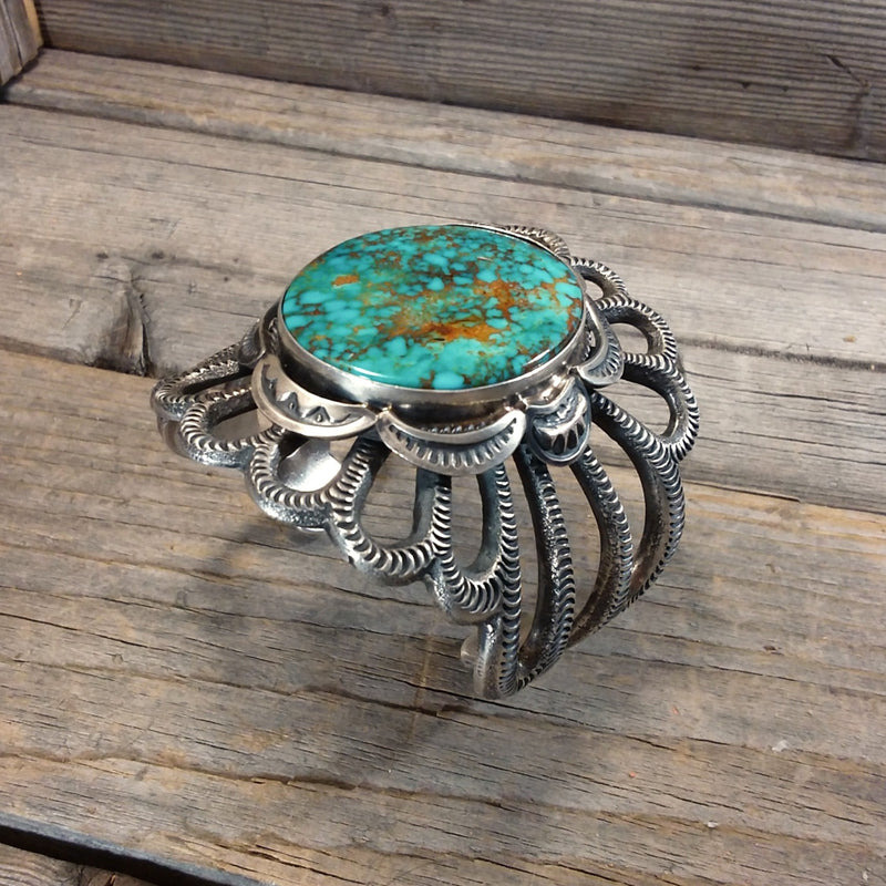 Roland Dixson Turquoise Silver Stamp Bracelet