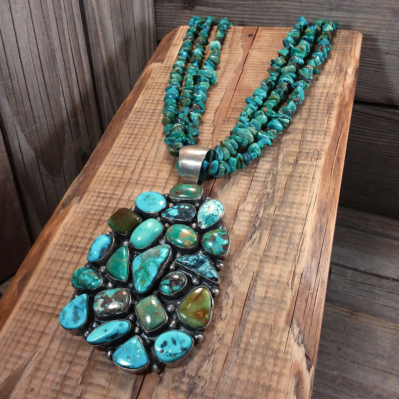 Turquoise Beaded Necklace With Turquoise Cluster Pendant, Native American, Sterling Silver, Raymond Beard, Hallmark BRD