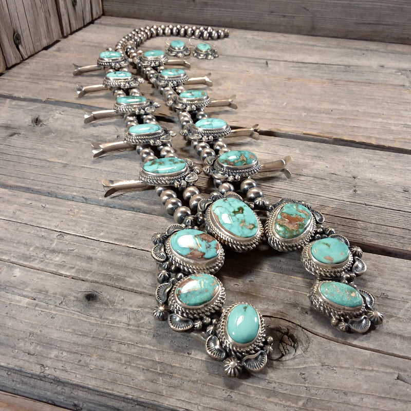 Thomas Francisco turquoise sterling silver squash blossom necklace and earring set Native American Handcrafted Jewelry