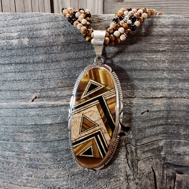Thomas Francisco Tigers eye and jasper inlay and beads sterling silver necklace, Navajo, Navajo beaded jewelry, Inlaid, Inlaid pendant.