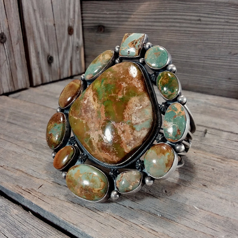 Aaron Toadlena Navajo green turquoise sterling bracelet, Cluster Bracelet, Native American Jewerly