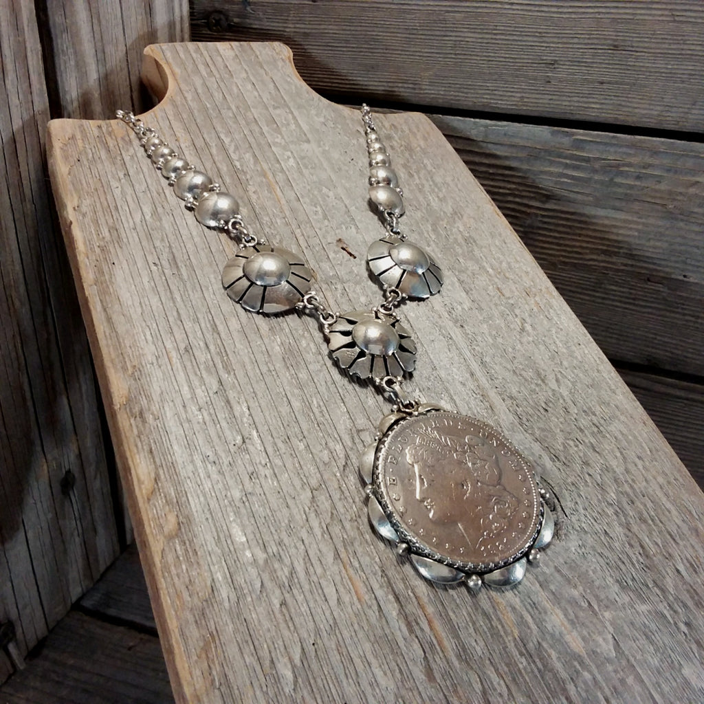 Clem Nalwood Navajo sterling silver necklace and earrings set, Vintage Coin Jewerly, Jewelry Sets