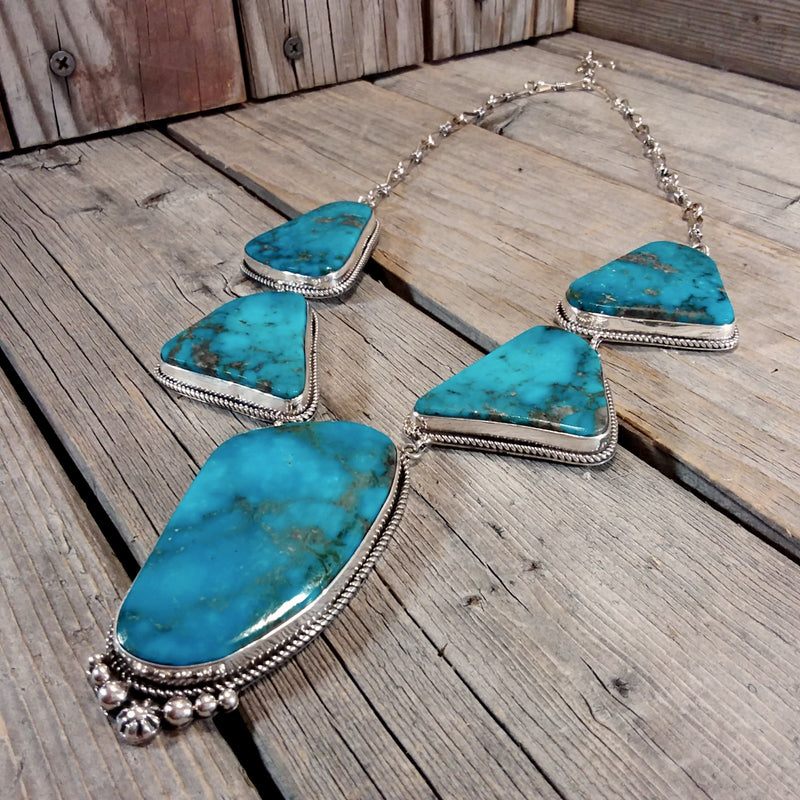 LaRose Gonadonegro Navajo turquoise sterling silver necklace and earring set. Native American Blue Turquoise Jewlery Set