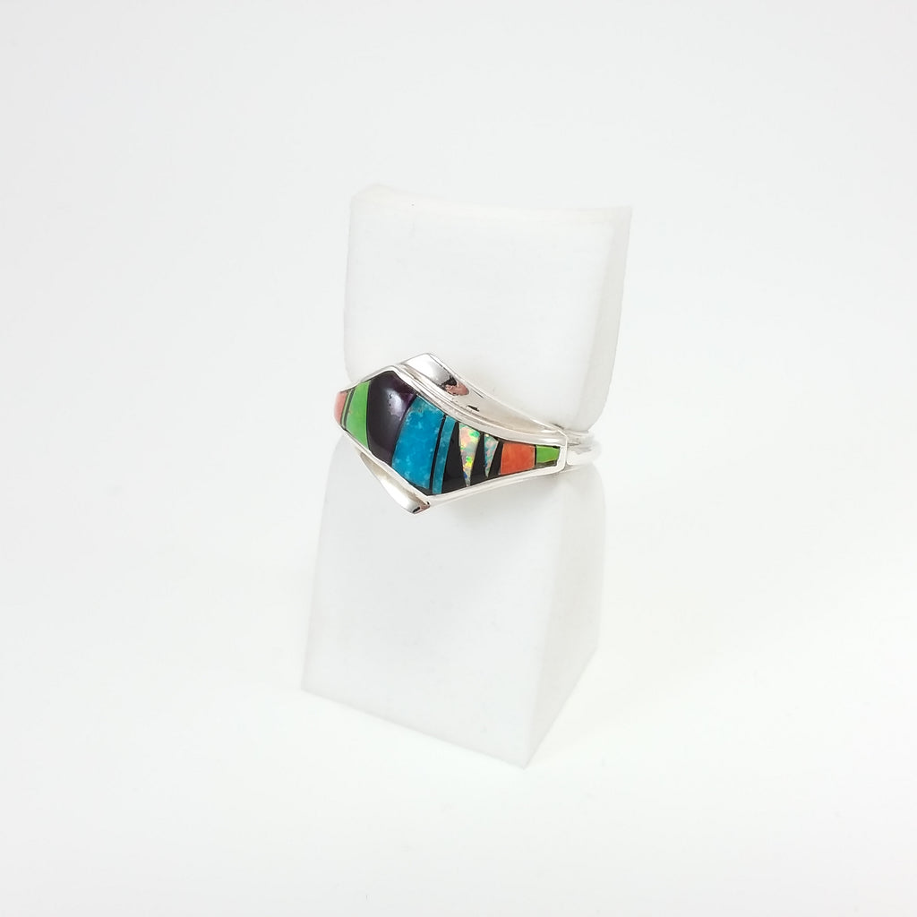 Navajo multi stone sterling silver inlay ring.
