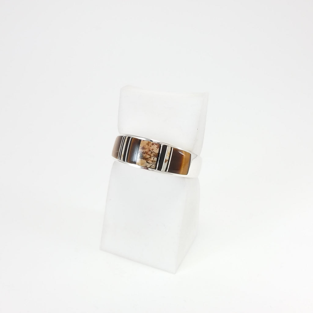 Navajo picture jasper tigers eye and jet sterling silver ring.