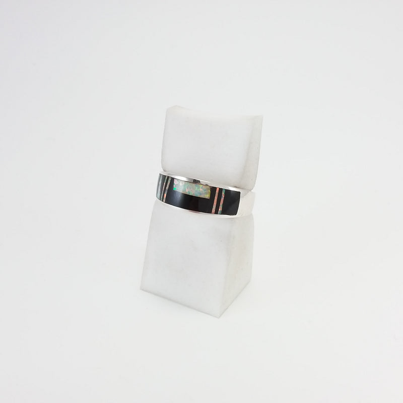 Navajo opal and jet sterling silver inlay ring.