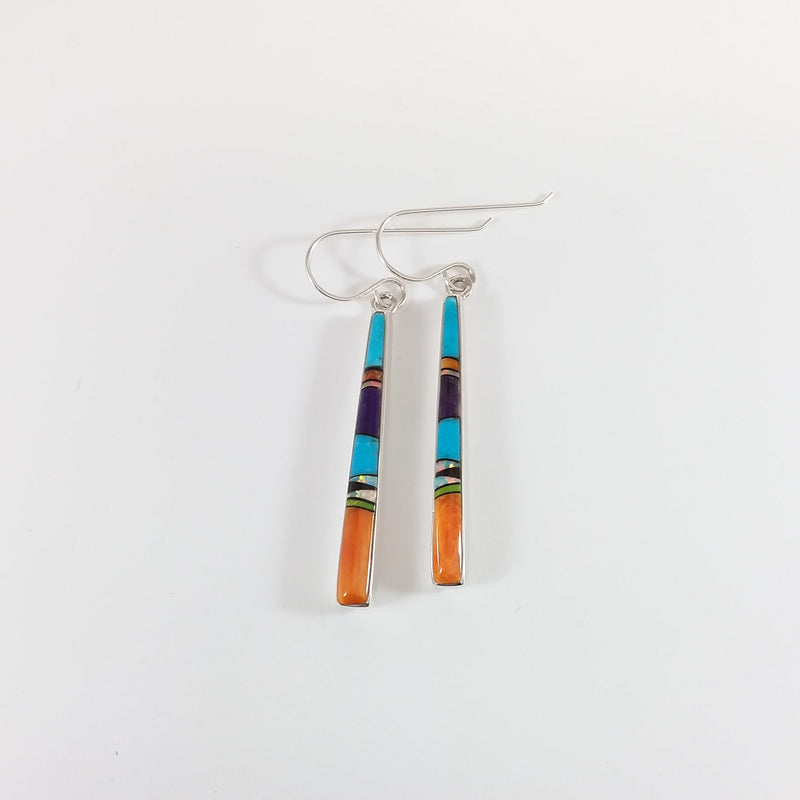 Navajo multi stone sterling silver inlay earrings.
