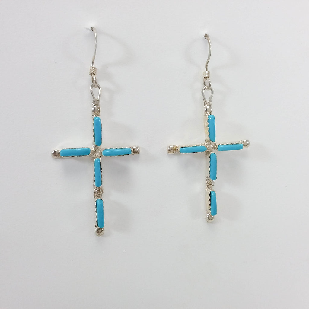 Jaylene Bellson turquoise sterling silver cross earrings.