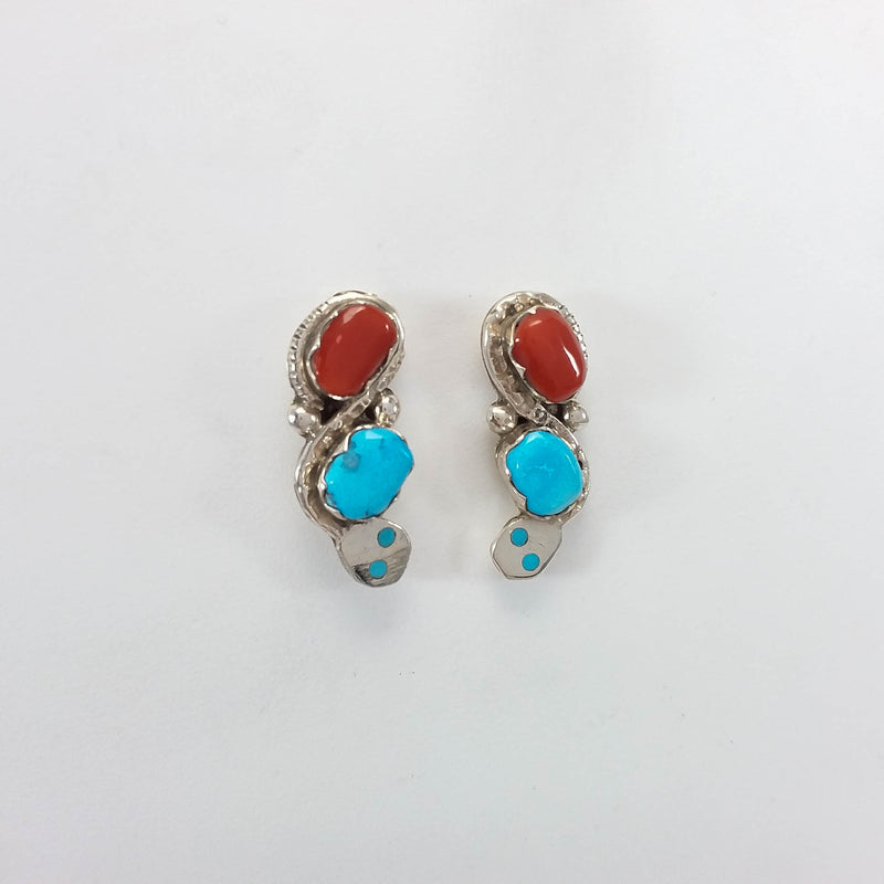 Effie Calabaza turquoise and coral sterling silver earrings.
