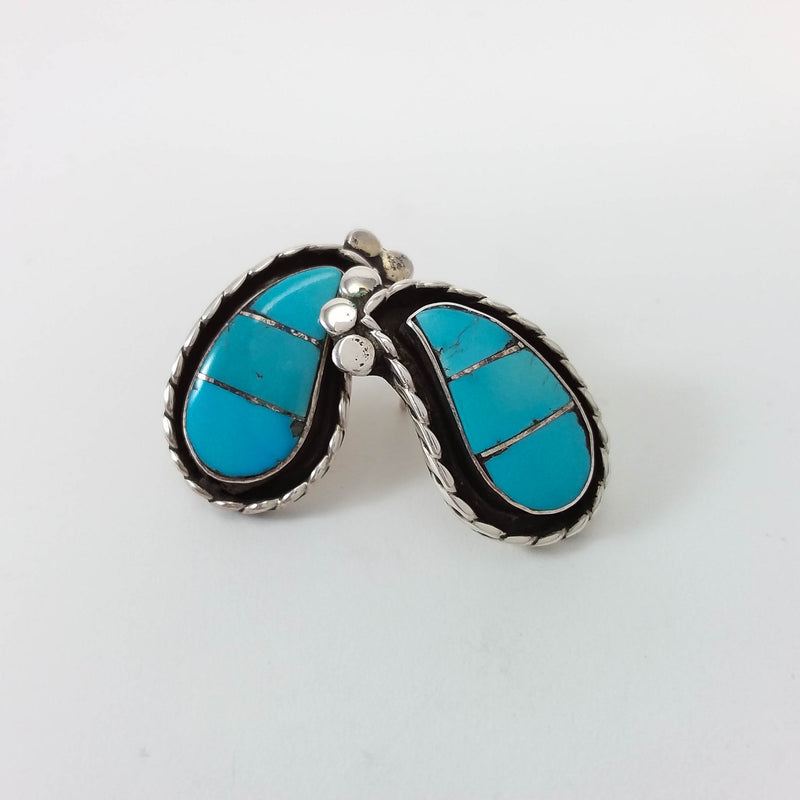 Janice Lanjose turquoise sterling silver inlay earrings.