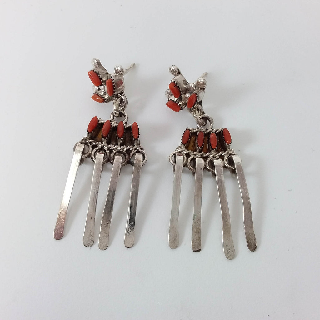 Zuni coral sterling silver needle point earrings.