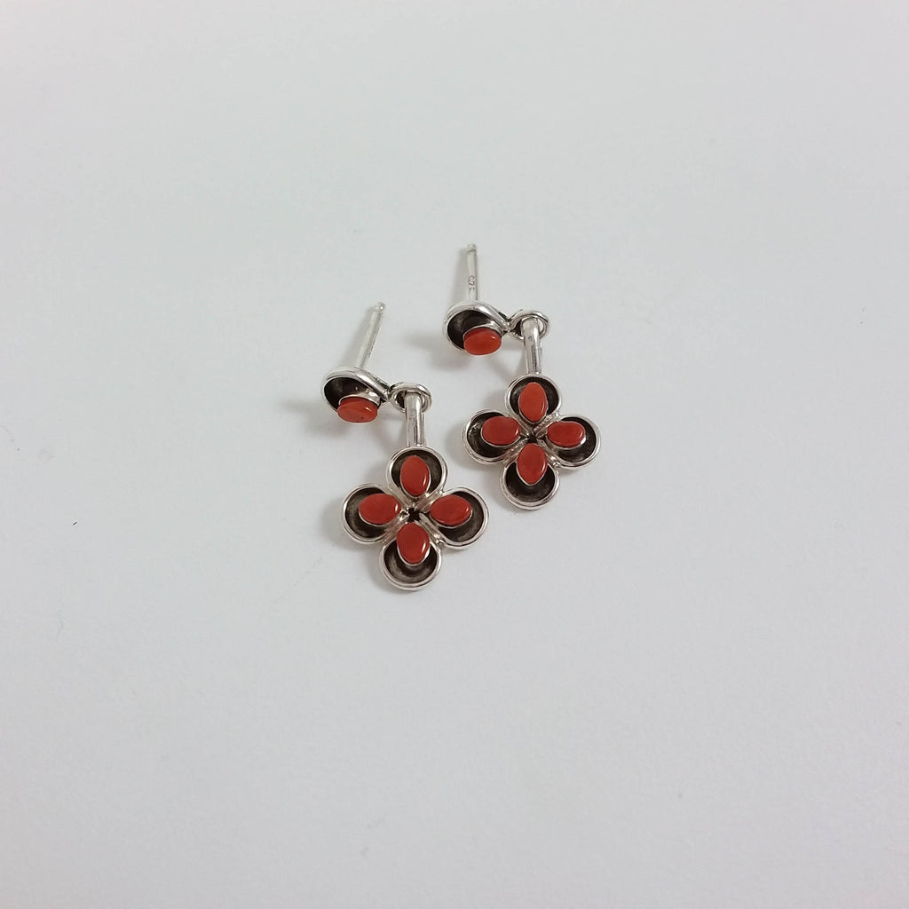 Janice Lanjose coral sterling silver flower earrings.