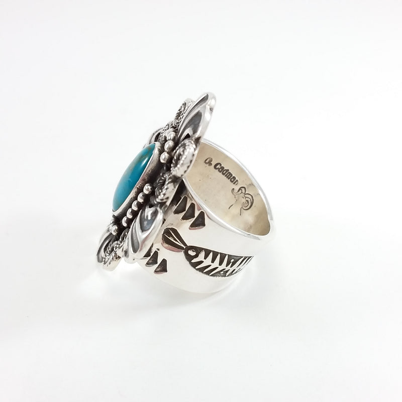 Darrell Codman Navajo turquoise sterling silver ring.