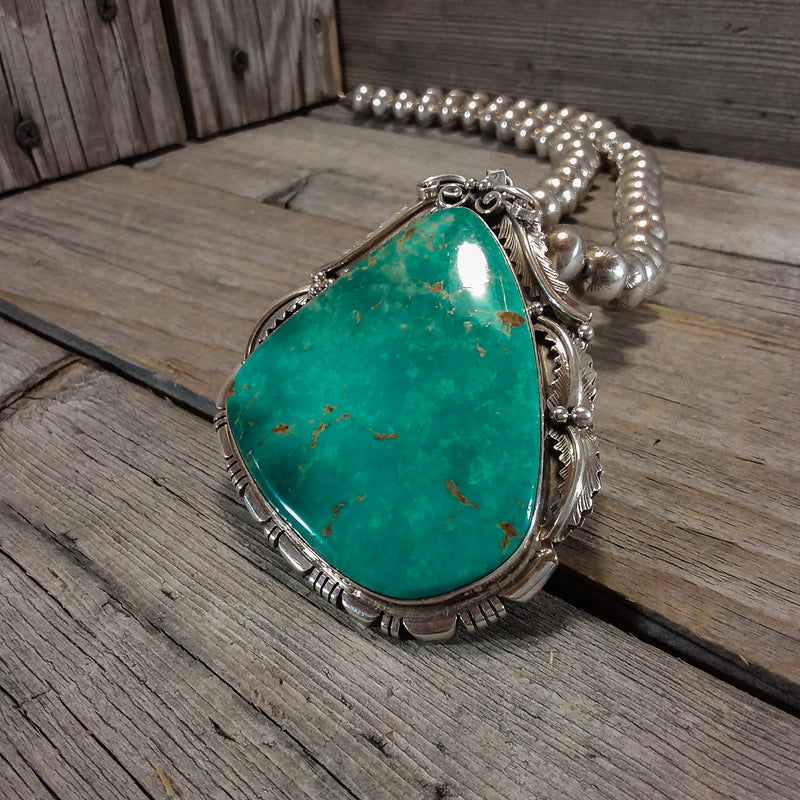 Native American Thomas Francisco Large, Huge Turquoise Sterling Handcrafted, Navajo Pendant