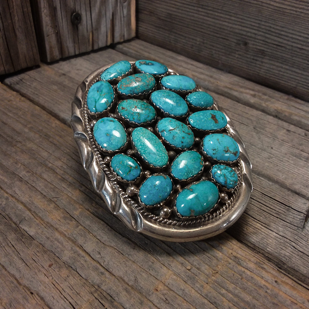 Julia & H. Etsitty Navajo turquoise sterling silver belt buckle, Fox Turquoise, Cowboy Belt, Native American Handcrafted Jewelry