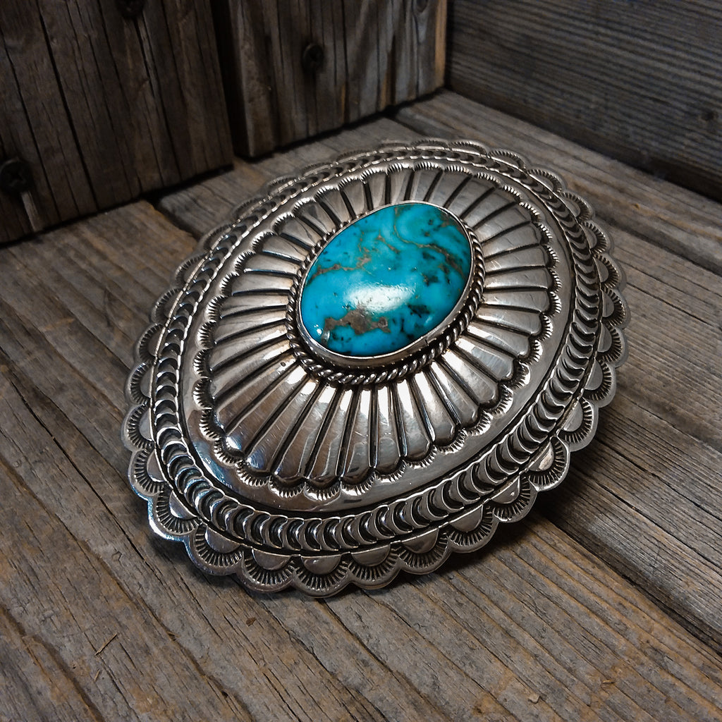A.J. Platero Navajo turquoise sterling silver belt buckle, Cowboys Belt Buckle, Chunky Belt Buckle