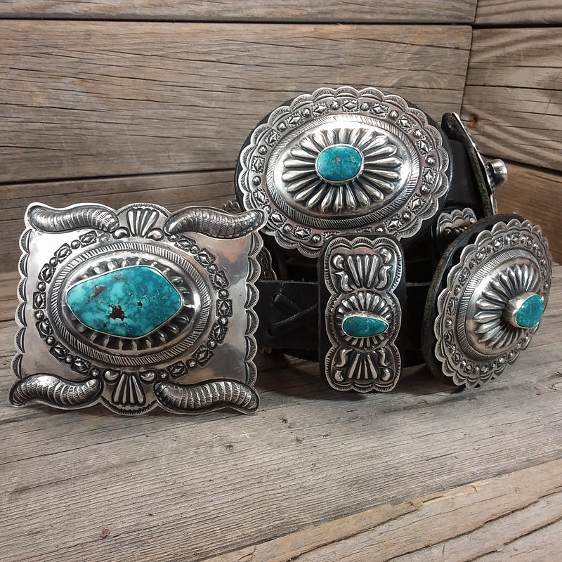 Green Turquoise Concho Belt by Daniel Martinez
