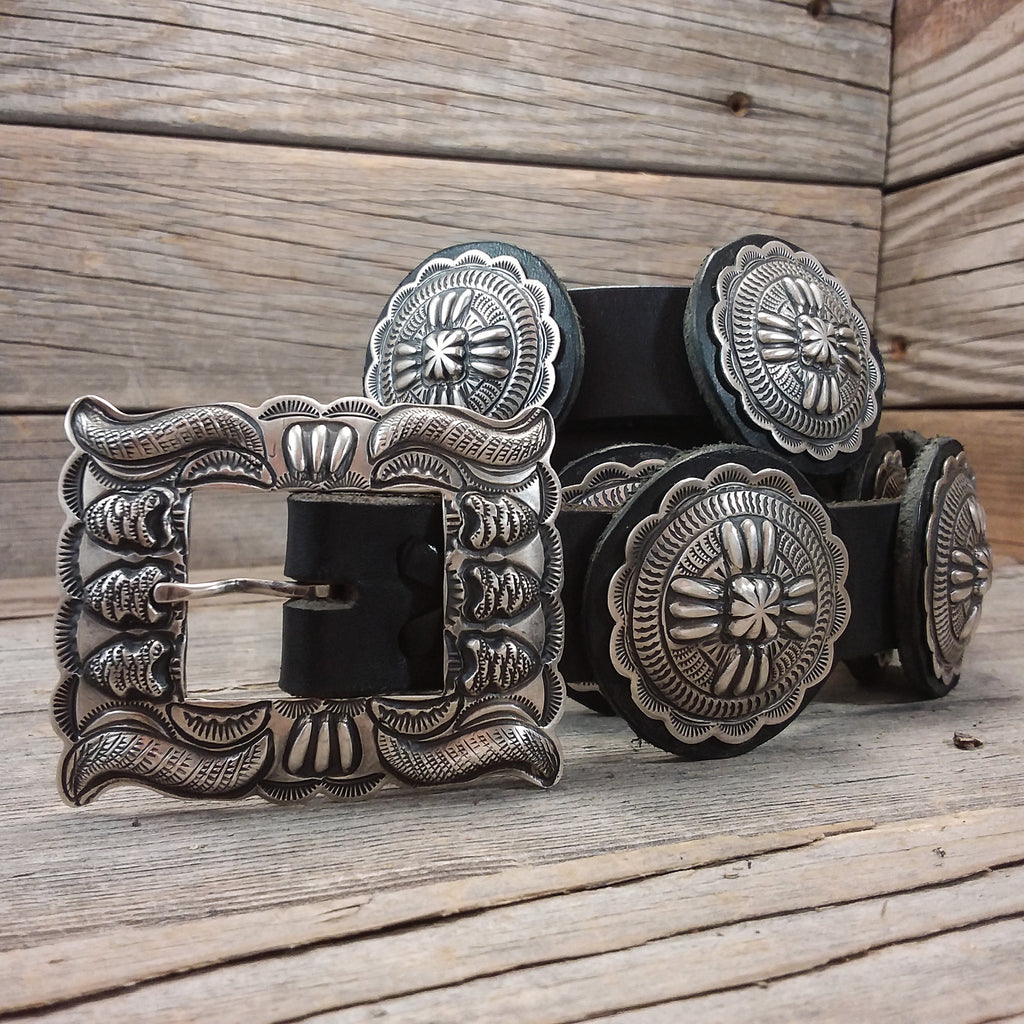 Silver Stamp Concho Belt by Two Dogs