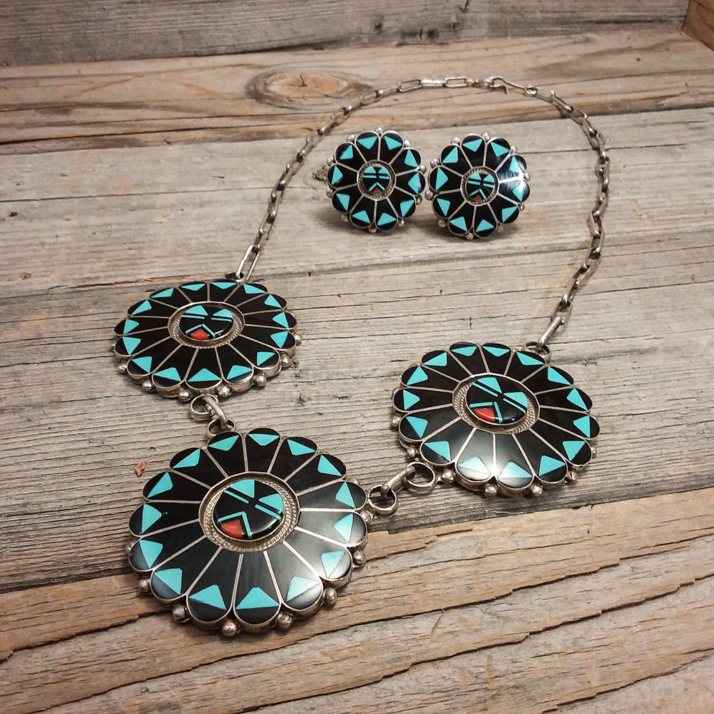 Inlay Necklace and Earring Set By Beny S. Tzuni