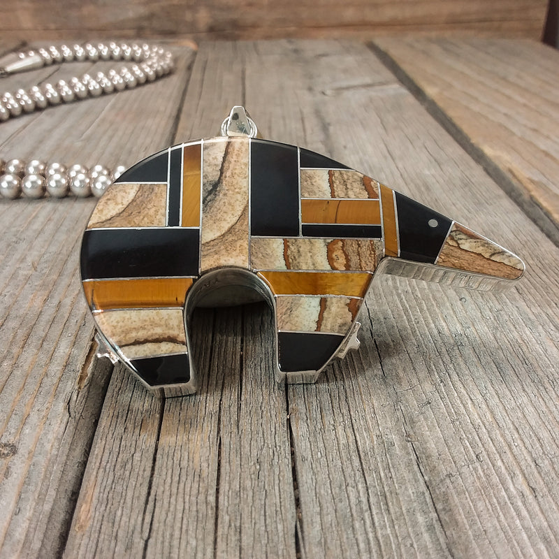 Two-Sided Inlay Bear Pendant by Edison Yazzie