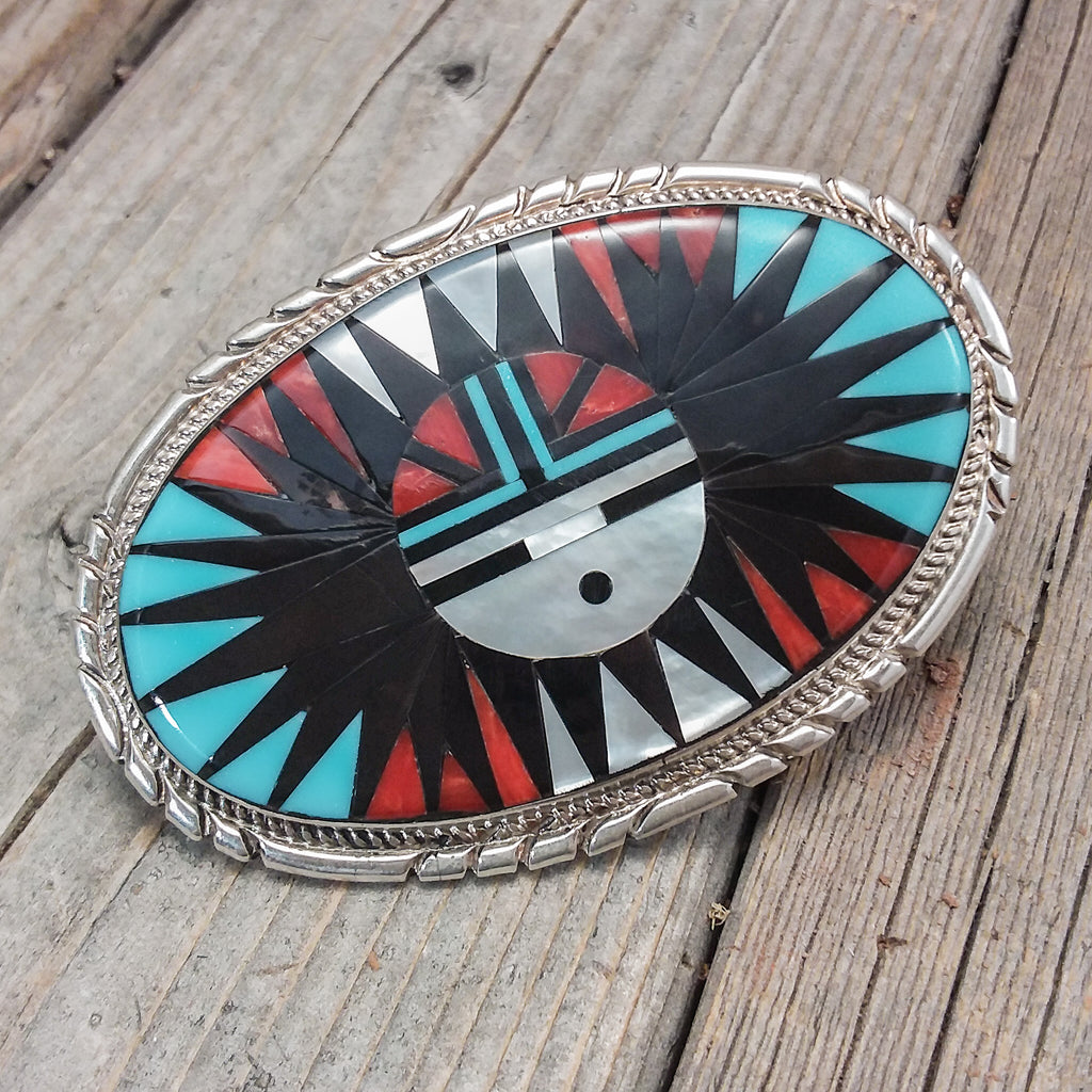 Zuni Inlay Belt Bucke By Larry Leslie