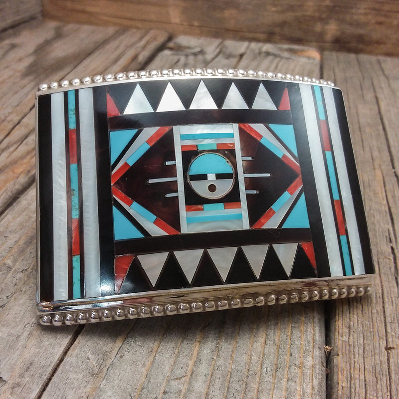 Zuni Inlay Belt Buckle By R&L Vacit