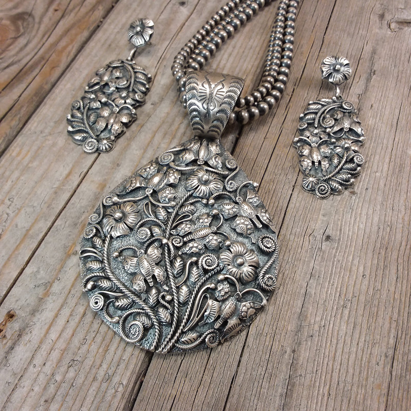 Silver Butterfly Necklace Earring Set By Lee McCray