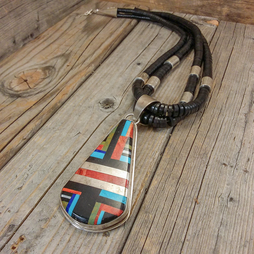 Multi Stone Inlay Necklace By Daniel Coriz