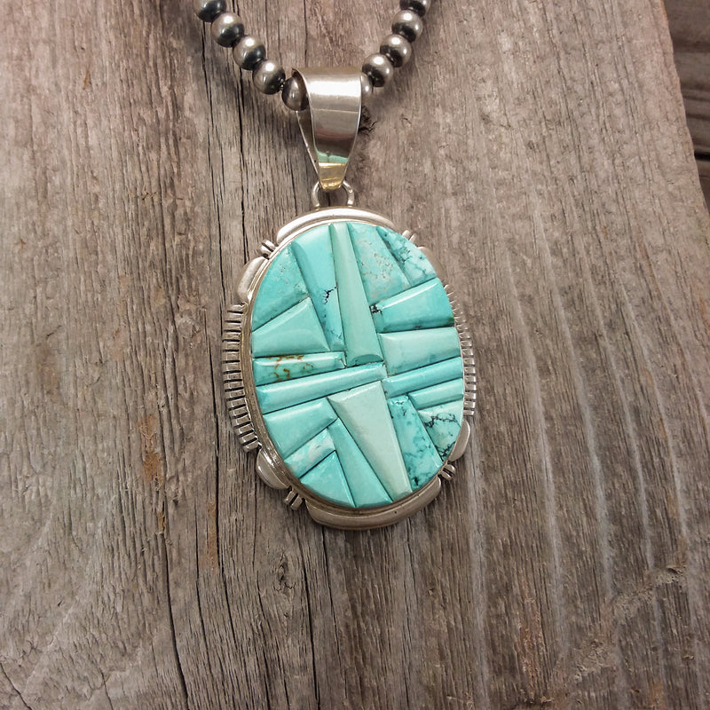 Turquoise Inlay Pendant By Thomas Francisco