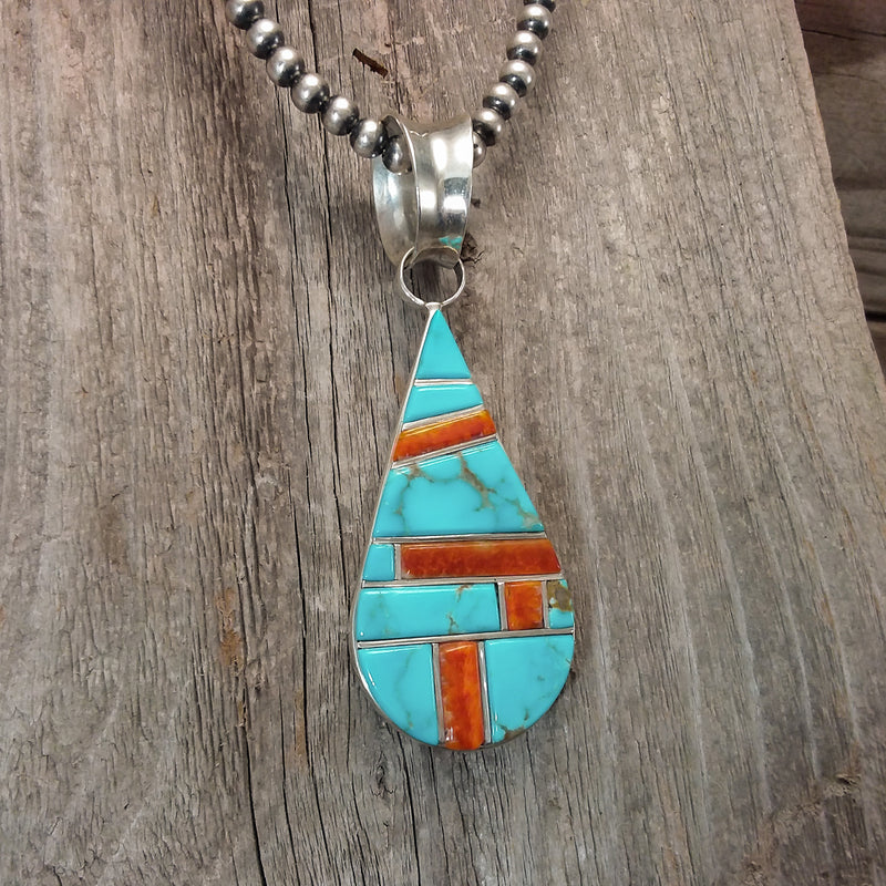 Turquoise/Spiney Oyster Pendant By Ervin Tsosie
