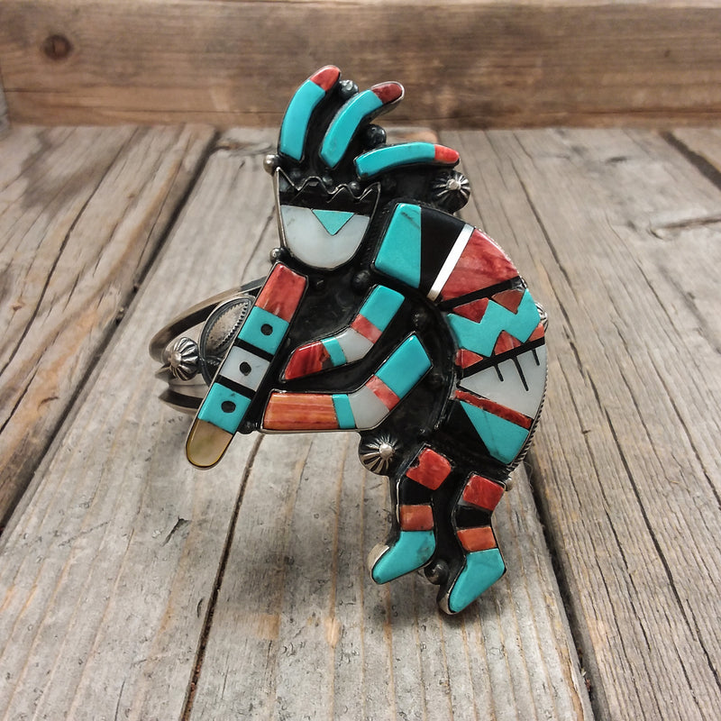 Kokopelli Multi-Stone Inlay Bracelet by Harry Morgan