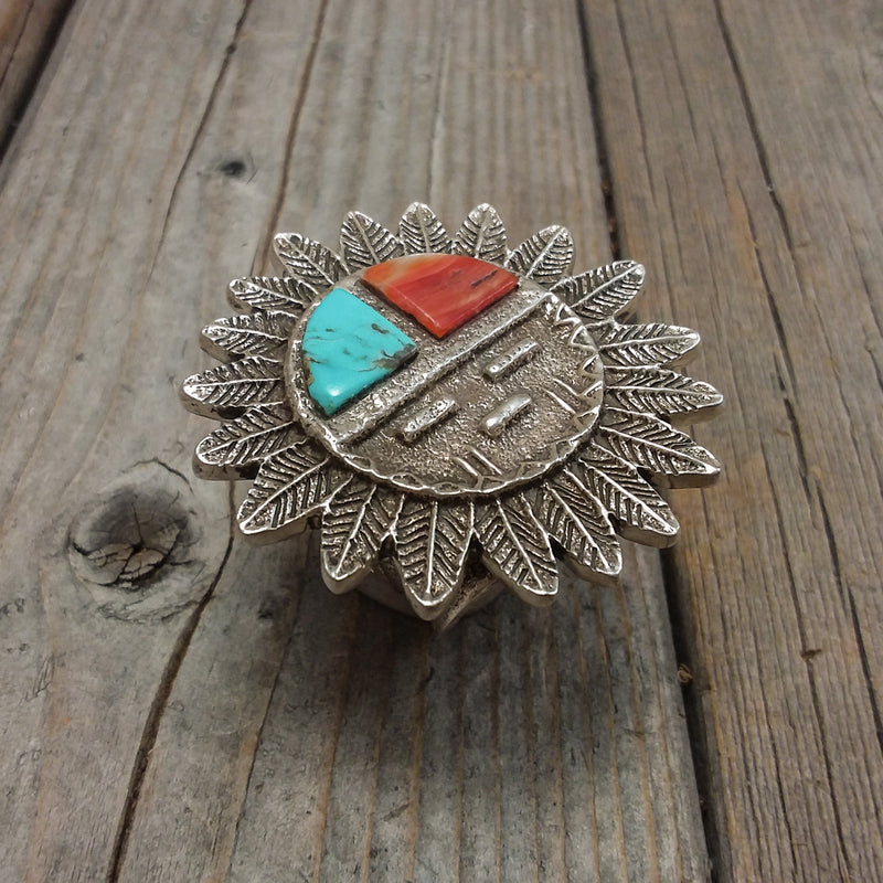 Turquoise/Spiney Oyster Sancasted Zuni Sun Face Ring By EI A Zuni Artist