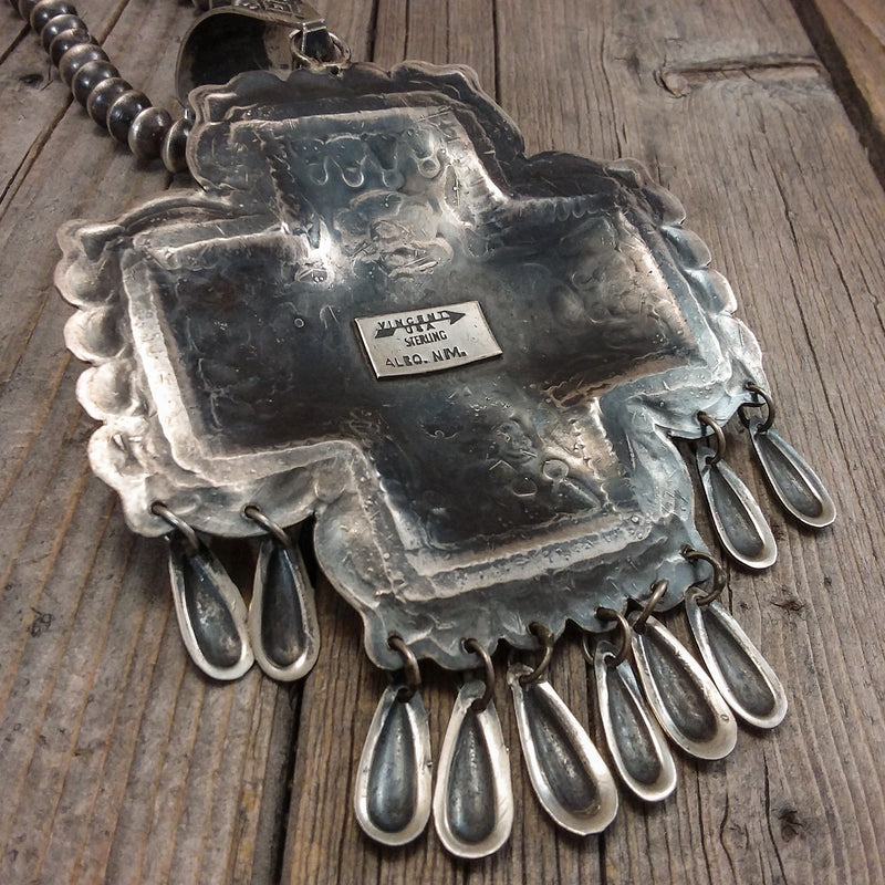 Silver Stamp Cross Pendant By Vincent J. Platero